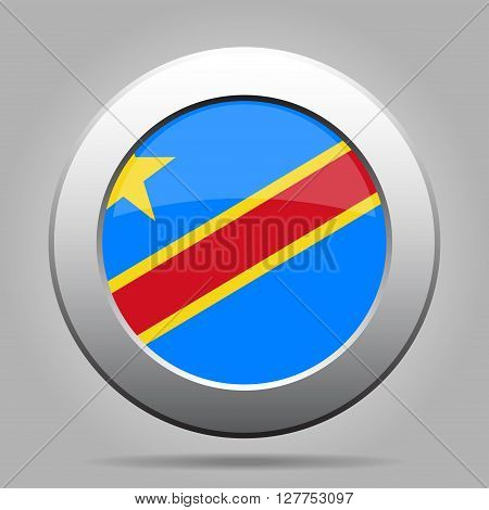 metal button with the national flag on a gray background - Democratic Republic of the Congo