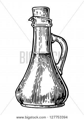 Jug glass with liquid. Vector vintage engraved illustration