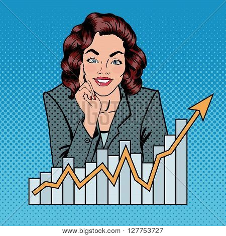 Successful Businesswoman and Arrow Graph. Pop Art Vector illustration
