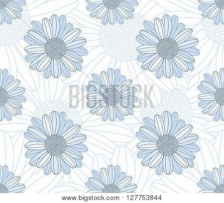 Seamless floral background with camomiles for design