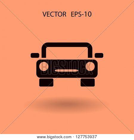 Flat long shadow Car icon, vector illustration