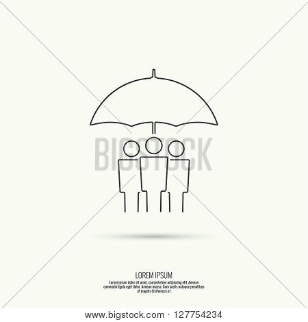 Group of people under protection of umbrella. The concept of social networking, teamwork, union, community, fellowship. Outline. minimal.