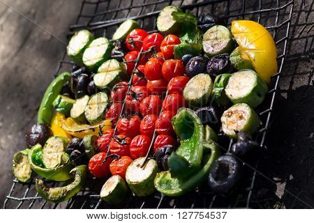 Fresh grilled vegetables picnic in summer outdoors.