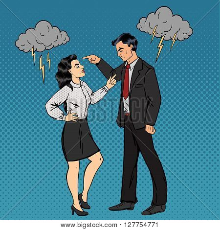 Dispute Between Man and Woman Family Conflict. Pop Art Vector illustration