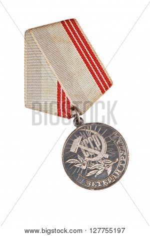 Russian Medal With The Inscription Veteran Labor Isolated On White Background.  Illustrative Editori