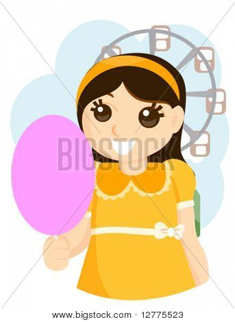 Girl eating Cotton Candy - Vector