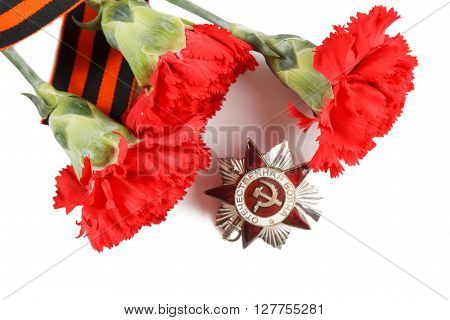 Order Of The Patriotic War In St. George's Ribbon. Illustrative Editorial.  Isolated On White