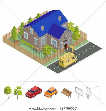 Postal Service Isometric House. Delivery Man. Vector illustration