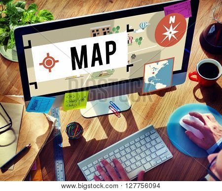 Map Navigation Position Transport GPS Route Concept