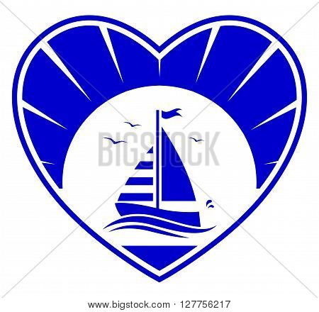 vector floating sailboat in heart isolated on white background