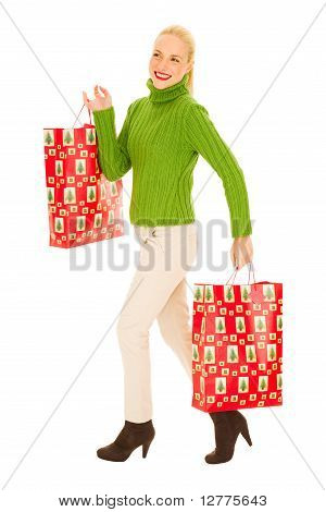 Woman with bags with Christmas gifts