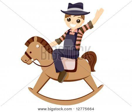 Boy on a Rocking Horse - Vector