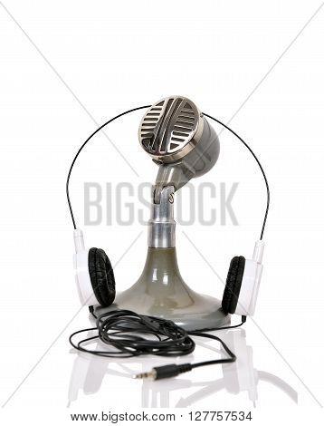 Vintage Microphone And Headphones