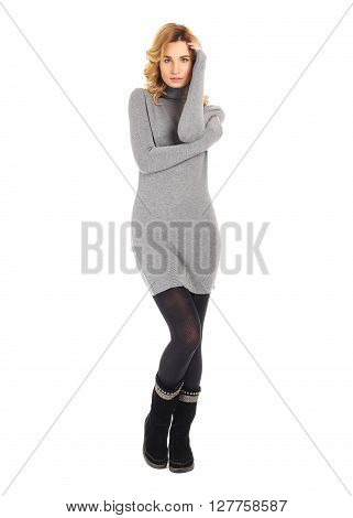 Full-length portrait young woman in tunic isolated