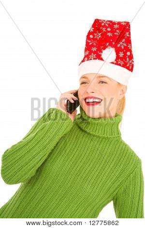 Woman with mobile and Santa Hat