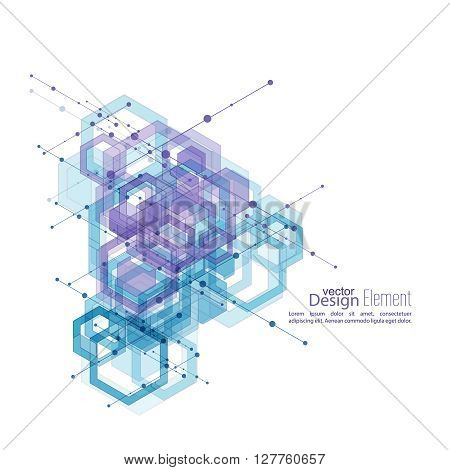 Abstract neat  Background with transparent cubes, hexagons carcass. Techno design of future, minimalism. technology, science and research. cyberspace cells.