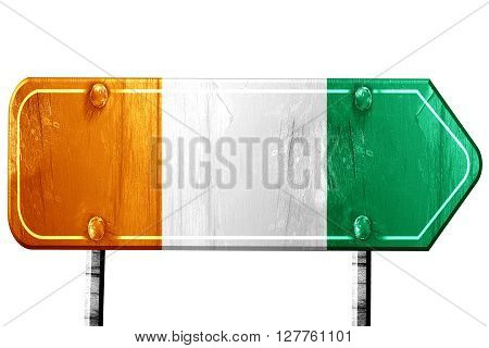 Ivory coast flag, 3D rendering, vintage road sign isolation