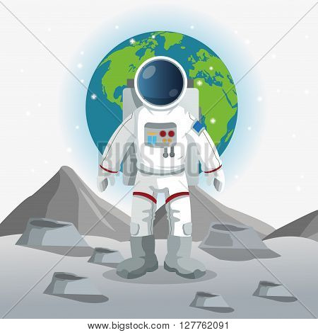 Astronaut concept with icon design, vector illustration 10 eps graphic.