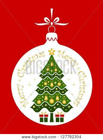 vector christmas tree and gifts in christmas ball isolated on red background