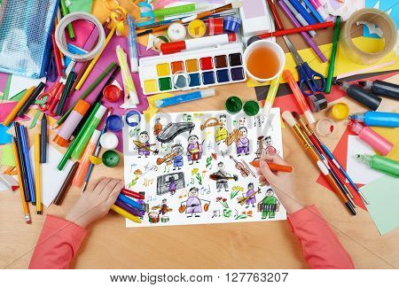 cartoon people musician collection child drawing, top view hands with pencil painting picture on paper, artwork workplace