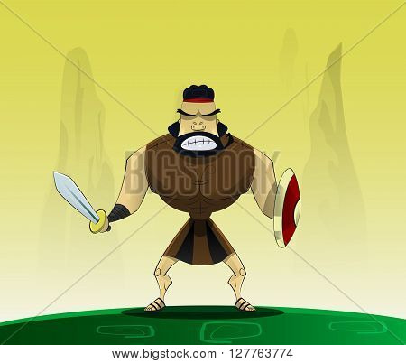 The figure shows male. Roman gladiator in cartoon style.