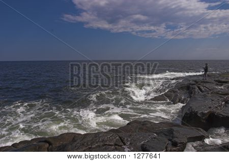 Striper Fisherman At Cape Neddick Maine