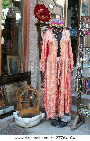 a turkish traditional cloth, caftan, at bazaar