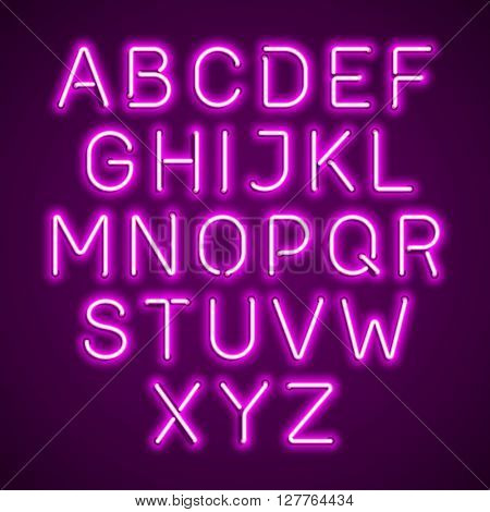 Neon light glowing alphabet. Vector.