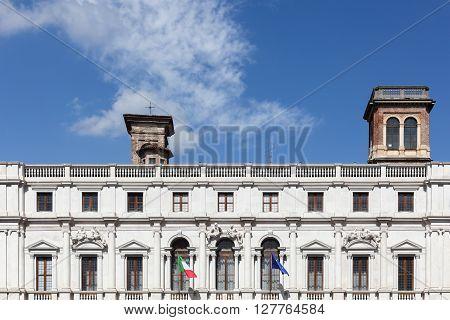 The public library at piazza Vecchia in Bergamo, Italy