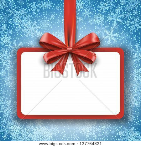 Christmas round gift card with red ribbon and satin bow on snowflakes background. Greetings banner winter holiday. Vector illustration EPS10