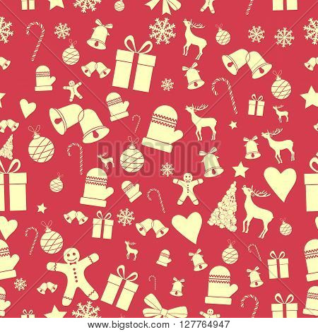 Creative Seamless Christmas pattern. Beautiful red retro stylized banner. Vector EPS10