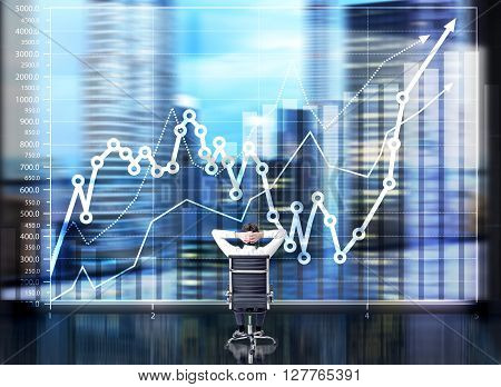 Businessman with hands on head sitting in front of business chart and cityscape. Double exposure