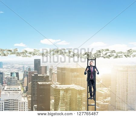Man climbing ladder to dollar banknote path over sunlit New York
