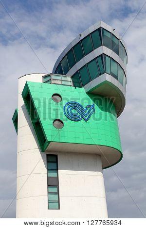 Bergamo, Italy - April 16, 2016: Orio al Serio Airport control tower in Bergamo, Italy. Orio al Serio Airport is the third busiest in Italy