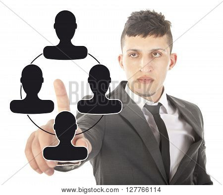 Young businessman with black virtual friends isolated on white background