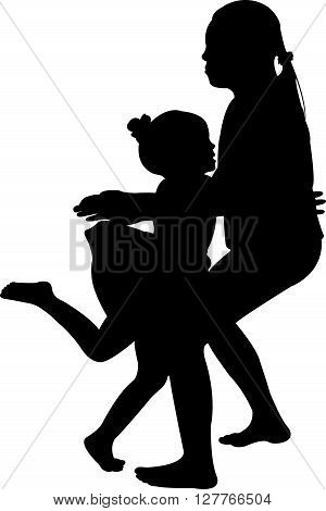 the girl falling down and the other is holding her, silhouette