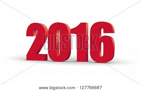 The new year 2016. Red 3d perspective inscription. Vector EPS10