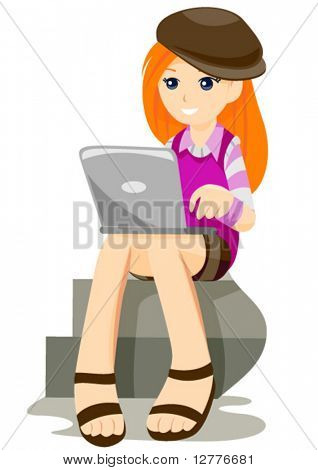 Teenager and her Laptop - Vector