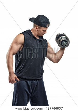 Coutout sportsman lifting a dumbbell for training his biceps. Power training. Healthy lifestyle. Fitness and sport. Biceps Exercises.