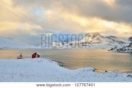 Torsfjorden Inlet & Moberget Mountain, Lofoten, Norway
