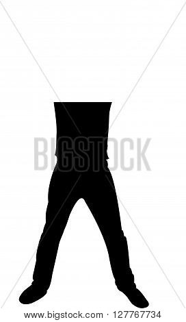 man open up his leg, black color silhouette vector