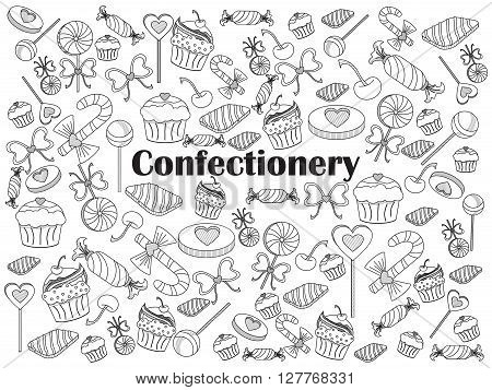 Confectionery design colorless set vector illustration. Coloring book. Black and white line art