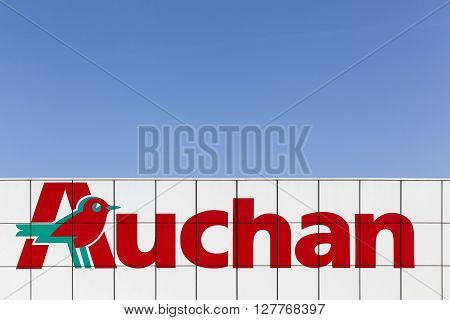 Macon, France - March 22, 2016: Auchan is a French international retail group and It is one of the world's principal distribution groups with a presence in 15 countries