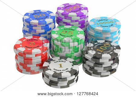 Casino Tokens stack 3D rendering isolated on white background