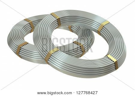coils of steel wires 3D rendering isolated on white background