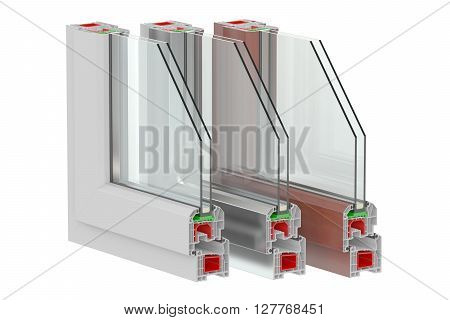 Plastic Windows profiles 3D rendering  isolated on white background