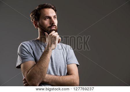 Bearded Man Hand At Chin