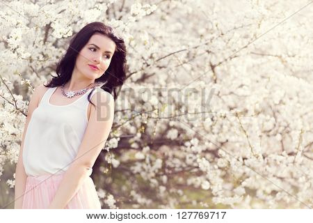 Beautiful Woman And Cherry Blossom