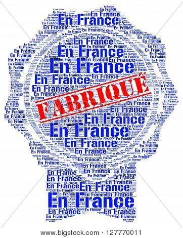 Made in France label with a white background