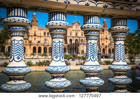 Ceramic Bridge inside Plaza de Espana in Seville Spain.
